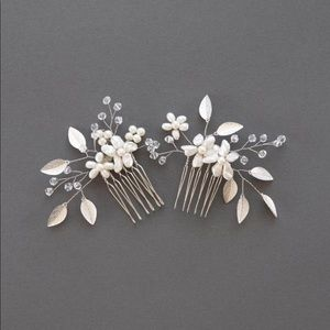 Pearl gold leaf and crystal bridal hair combs